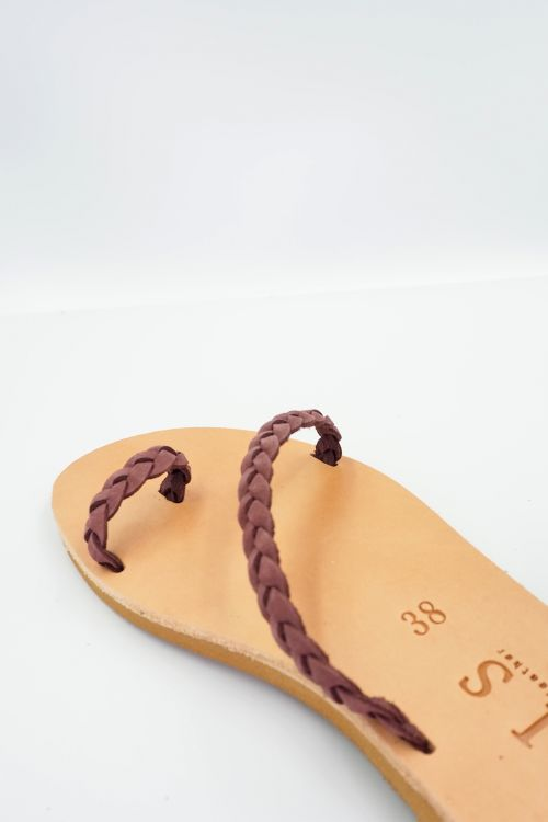 Leather Sandals Alkistis - Μωβ
