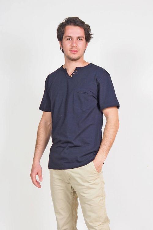 Ανδρικό t-shirt με κουμπάκι Leo - Μπλε Σκούρο
