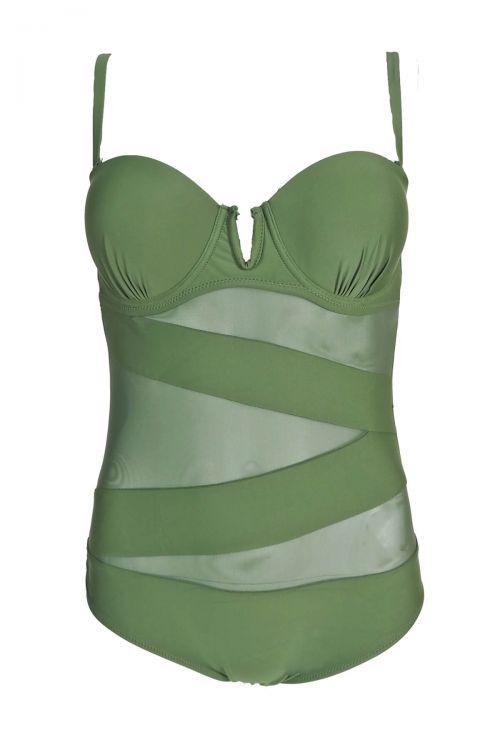 Ολόσωμο μαγιό με διαφάνεια Lilian - Πράσινο