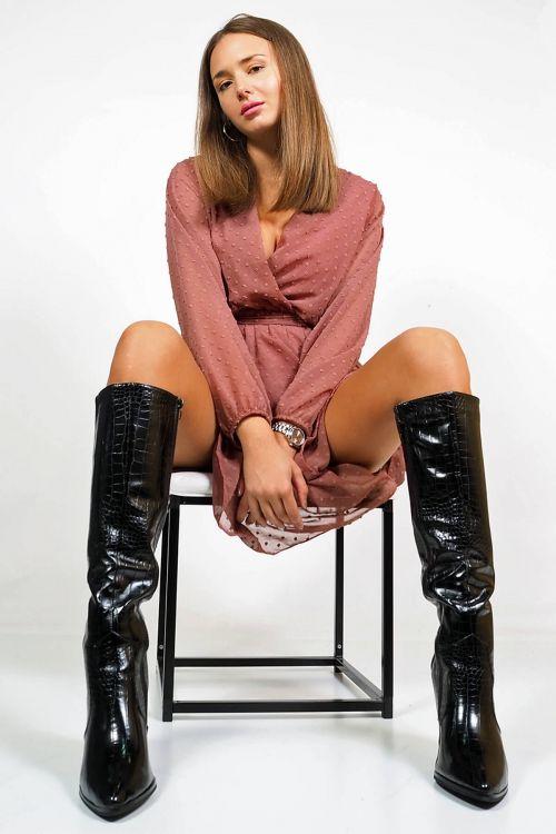 Μπότες croco Daisy - Μαύρο