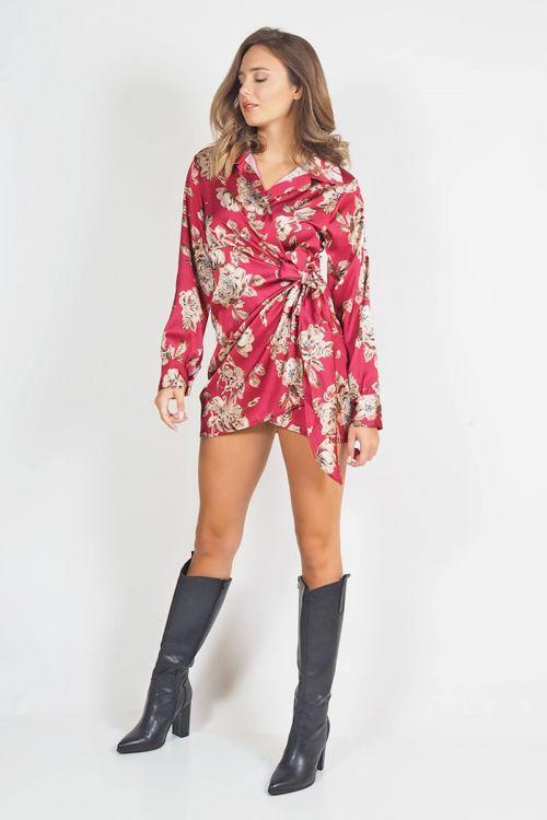 Μίνι φλοράλ φόρεμα κρουαζέ με δέσιμο στο πλάι - Μπορντό