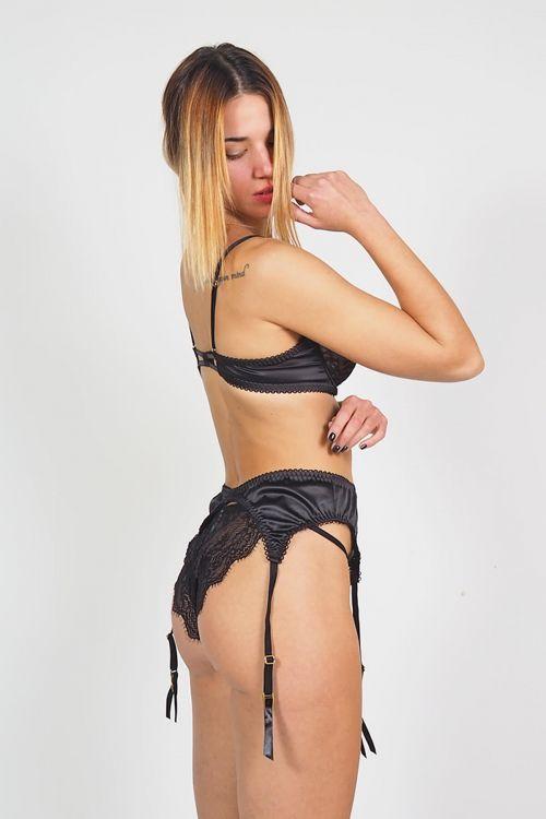 Σετ εσώρουχο με ζαρτιέρες sheer n lace - Μαύρο