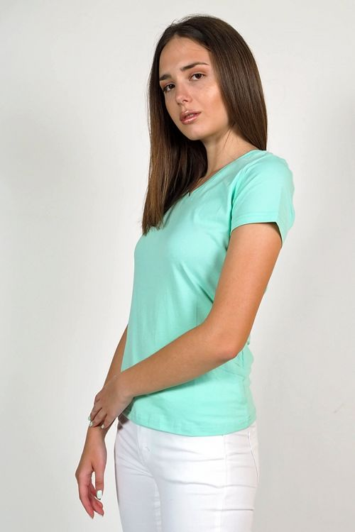 T-shirt V cut Kimberly - Φιστικί