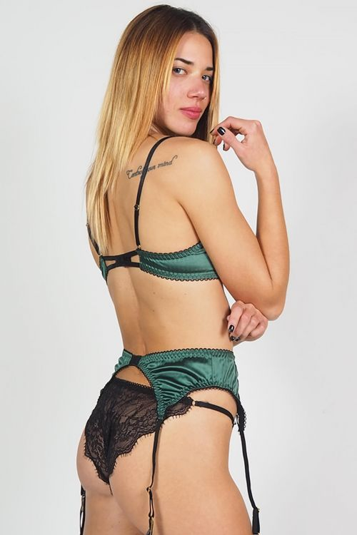 Σετ εσώρουχο με ζαρτιέρες sheer n lace - Πράσινο
